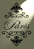 Paris french damask Stencil Shabby Chic Mylar Vintage A4 297x210 wall furniture