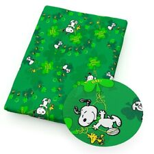 """St Patrick'S Day Snoopy Woodstock Clover 100% Cotton Fabric 19"""" X 27"""" 50% Off"""