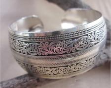 Hot! New Tibetan Tibet silver Totem Bangle Cuff Bracelet Width: 2.7CN