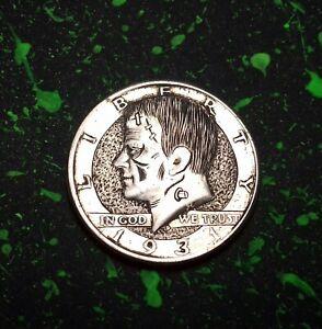 HAND ENGRAVED HOBO NICKEL COIN - A.REED- FRANKENSTEIN ON '71 KENNEDY HALF DOLLAR