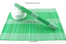 4 Handmade Bamboo Wood Placemats Tableware Wooden Mats, White-Green P081