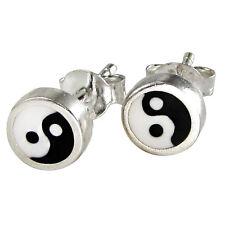 Sterling Silver Yin Yang Taoist  Buddhist Earrings Studs yinyang Tao jewelry