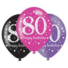6 X 80th Ballons Anniversaire Noir Rose Lilas Décoration de Fête Âge 80 Ans