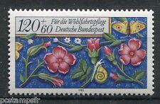 ALLEMAGNE FEDERALE, 1985, timbre 1094, FLEURS COLIMACON et PAPILLON, neuf**
