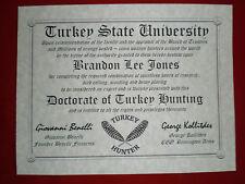 Turkey Hunting Diploma ~ man cave ~ certificate ~ gift ~ Hunter ~ Shotgun