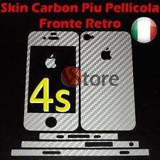Skin Adesiva In Carbonio Per iPhone 4S + Pellicola Salva Schermo Fronte Retro S