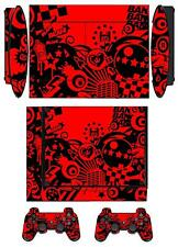 Skin Sticker PS3 PlayStation 3 Super Slim & 2 controller skins Red Passion Q067