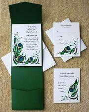 100 Personalized Custom Pocket Peacock Feathers Bridal Wedding Invitations Set