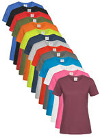 3 PACK of Womens Ladies100% Cotton Classic Short Sleeve Crew Neck Tee T-Shirt