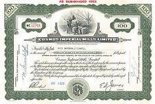 Cosmos Imperial Mills > Hamilton Ontario Canada cotton stock certificate share