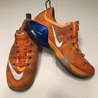 Nike Lebron James XII Low Shoes, 7Y Unisex, Orange/Blue, Knicks, 744547-838 , 12