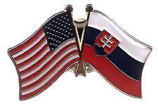 Lot Of 3 Slovakia Friendship Flag Lapel Pins - Slovakia Crossed Flag Pin