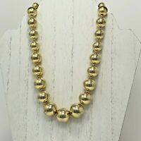 Bead Necklace Chain Strung Gold Tone Metal Graduated Hook Clasp Vintage