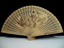 Hand Folding Pocket Purse Chinese Sandalwood Traditional Elegant Fan Geisha Doll