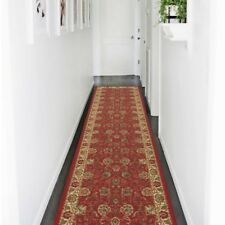 2 x 7 ft Non-Skid Rug Runner Classic Oriental Red Floral Design Machine Washable