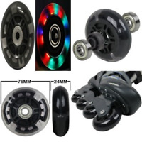 LED INLINE WHEELS 76mm 82a Skate Rollerblade LIGHT UP 8-Pack w/ Abec 9 Bearings