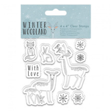 Bosque De Invierno-animales-transparente conjunto de sello-contemporáneo Nórdico Navidad