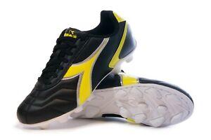 Diadora Men's Capitano VS MD Soccer Shoes / Cleats (Black / Neon Yellow)