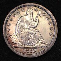 1838 Seated Liberty Dime BU++
