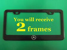 (2)pcs MERCEDES-BENZ *LOGO* BLACK metal license plate frame/Free screw caps