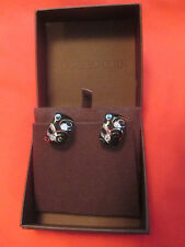 Vintage Roberto Coin 18k White Gold w Black Enamel Diamond earrings