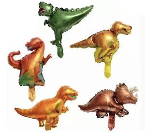 5pcs Mix Mini Dinosaur Foil Balloons Birthday Party Bag Filler T Rex Raptor