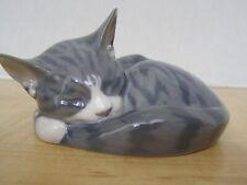 Vtg. Royal Copenhagen Grey Tabby Cat Sleeping Curled Up # 422 - Mint - Denmark