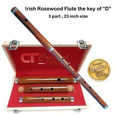 """Traditional Irish Wooden Flute The Key of """"d"""" Rose Wood 3 Part 23"""" Hand Made"""