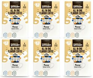 6 Beanies Flavoured All In One Instant Coffee Sticks Variety Packs: 54 Sachets