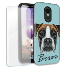 Boxer Dog Double Layer Case w/Tempered Glass Protector For LG Stylo 4