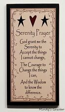 PRIMITIVE COUNTRY IVORY WOOD SERENITY PRAYER SIGN HANDMADE HOME WALL DECOR 0302