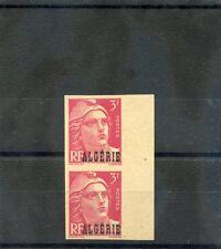 ALGERIA Sc 203 IMP(YT 238a)**/*VF 1NH/1LH IMPERF PAIR 1945 3F DEEP ROSE $60