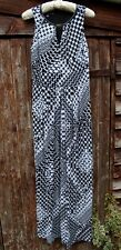 BLACK WHITE CHECK PATTERN MAXI DRESS FAUX LEATHER TRIM FULLY LINED US6 UK10 BNWT