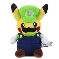 Pokemon Pikachu Luigi Plush Doll Super Mario Cosplay Stuffed Toys Gift - 9 In