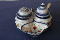 Vintage china Cruet set with pepper pot, salt tray, mustard jar & silver spoon