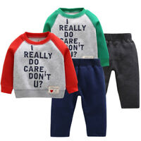 Toddler Kids Baby Boys Bodysuit Printed Warm Tops Pants Tracksuit Outfits Hot