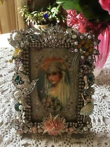 Jewel picture frame  Artwork   Wedding  by oldfashiongirls one of a kind