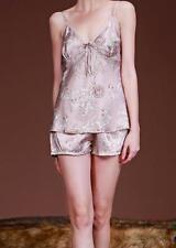 Argent Satin & Dentelle Top & Short Pyjama Set-joli motif feuille-UK taille 12