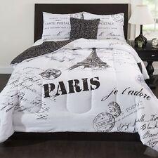 Eiffel Tower Bedding Paris Theme Decor French Comforter Set Bedroom QUEEN 5pcs