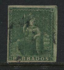 Barbados 1858 (1/2d) deep green used. (JD)