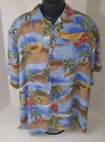 Hawaiian Shirt Sz XL Palm Trees Flowers Ocean Boat Rayon Aloha