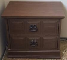 Vintage Faux Wood Finish Bed Side Table - Two Drawers - VGC - GREAT FINISH