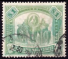 FMS FEDERATED MALAY STATES $1 Isc#46 ELEPHANT Taiping cancel USED @TE240