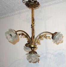 Antik  Französische Messing-Glas Kronleuchter, Lüster 4 Flammig