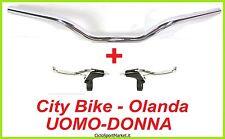 MANUBRIO + Leve FRENO bici City Bike / Olanda / Uomo-Donna in ALLUMINIO Cromato