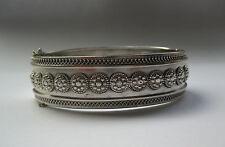 Antique Victorian Sterling Silver Cuff Bracelet / Bangle Birmingham 1885