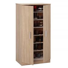 20 Pairs Shoe Cabinet 2 Door Brown in Canadian Oak 7 Shelf Storage Unit Bellini