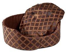Luxury Pet Bed Round Dog Cat Basket Cushion Mat Soft Fleece Washable Brown Large