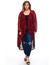 Womens Plus Size 1X Red, Black Long LACE Cardigan Hi Lo Draping