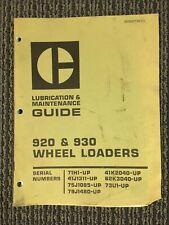 Caterpillar 920 930 Maintenance Manual Guide Wheel Loader 71h 41j 75 79 41k 62k
